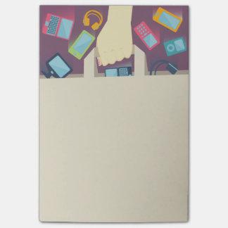 Dispositivos de Digitas que caem em um saco de Post-it Notes
