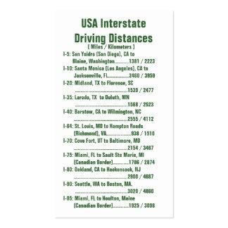 Distâncias de condução de um estado a outro dos cartão de visita