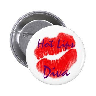 """""""Diva quente dos lábios"""" no botão branco Bóton Redondo 5.08cm"""