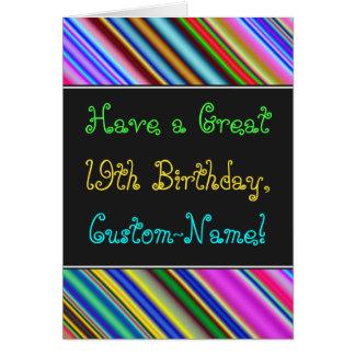 Divertimento, 19o cartão de aniversário colorido,