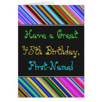Divertimento, 45th cartão de aniversário colorido,