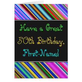 Divertimento, 50th cartão de aniversário colorido,