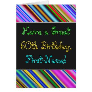 Divertimento, 60th cartão de aniversário colorido,