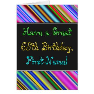 Divertimento, 65th cartão de aniversário colorido,