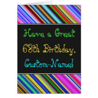 Divertimento, 68th cartão de aniversário colorido,
