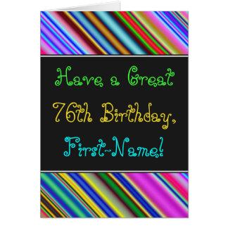 Divertimento, 76th cartão de aniversário colorido,