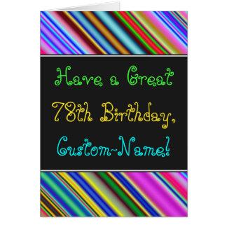 Divertimento, 78th cartão de aniversário colorido,
