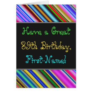 Divertimento, 89th cartão de aniversário colorido,