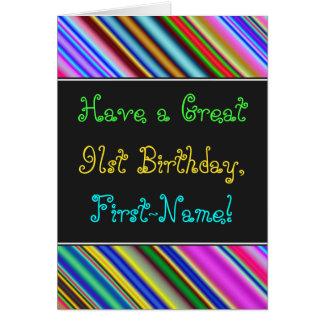 Divertimento, 91st cartão de aniversário colorido,