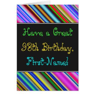 Divertimento, 98th cartão de aniversário colorido,