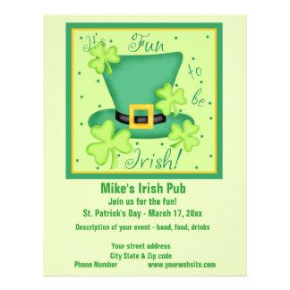 Divertimento a ser costume irlandês da promoção do panfletos personalizados