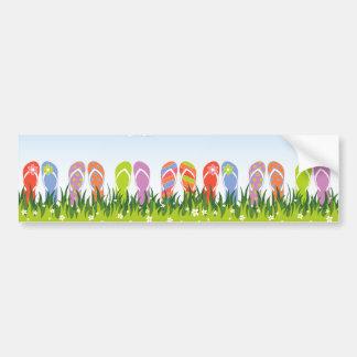 Divertimento colorido dos chinelos do verão no adesivo para carro