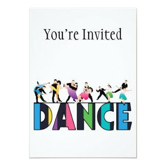 Divertimento & dança listrada colorida dos convite 12.7 x 17.78cm
