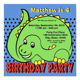 Divertimento do aniversário do dinossauro convite quadrado 13.35 x 13.35cm
