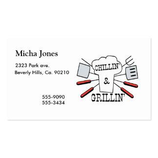 Divertimento do CHURRASCO de Chillin & de Grillin Cartão De Visita