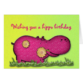 divertimento do hipopótamo cartão comemorativo