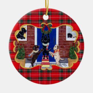 Divertimento do Natal de labrador retriever Enfeite Para Arvore De Natal