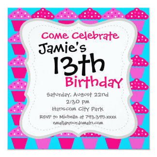 Divertimento e cupcakes Sassy do rosa quente e do Convite Personalizado