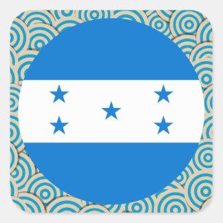 Divertimento enchido, bandeira redonda de Honduras Adesivo Quadrado