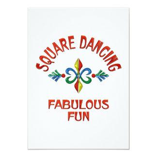 Divertimento fabuloso da dança quadrada convite 12.7 x 17.78cm