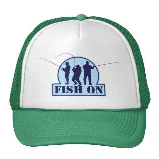 """Divertimento """"peixes"""" no logotipo azul da pesca, boné"""