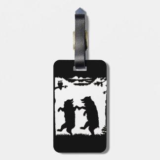 Divertimento que dança ursos pretos da silhueta tag de bagagem