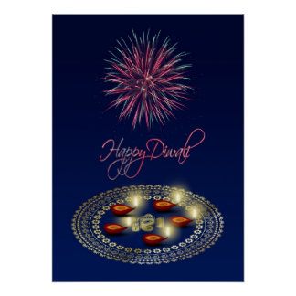 Diwali feliz Ganesha Rangoli - impressão do poster