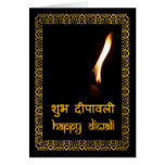 Diwali feliz no Hindi & no inglês Cartão