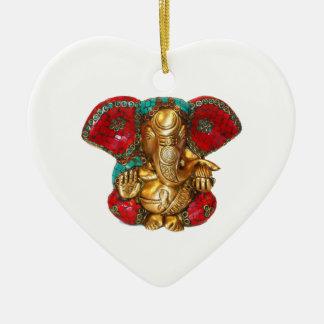 DIWALI felizes - Obrigado GANAPATI Ganesh Ornamento De Cerâmica Coração