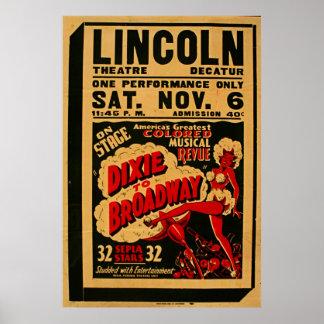 Dixie ao poster vintage 1937 de Broadway WPA