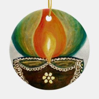 diya iluminado ornamento de cerâmica redondo