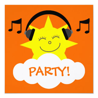 DJ Sun, fones de ouvido & notas musicais Convites Personalizados