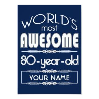 do 80 do aniversário dos mundos azul escuro convite 12.7 x 17.78cm