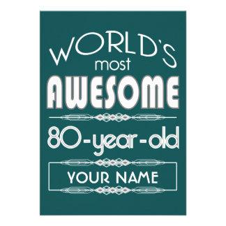 do 80 do aniversário dos mundos verde escuro convites personalizado