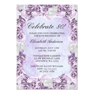 Do 80 roxo dos rosas e da pena do vintage convite 12.7 x 17.78cm