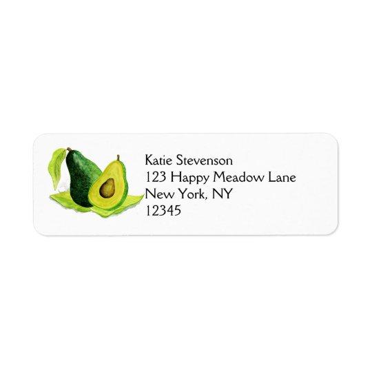 Do abacate fruta verde da vida ainda nas aguarelas etiqueta endereço de retorno