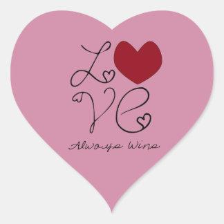 Do amor vitórias sempre - mude a cor adesivo coração