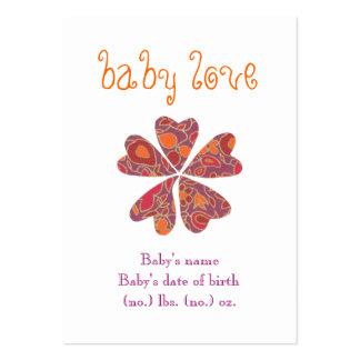 """Do """"anúncio do nascimento do bolso do amor bebê"""" cartão de visita grande"""