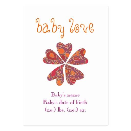 """Do """"anúncio do nascimento do bolso do amor bebê"""" cartão de visita"""
