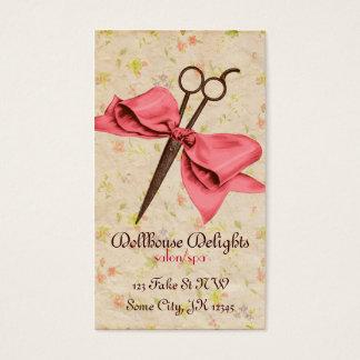 do arco feminino do rosa do cabeleireiro do cartão de visitas