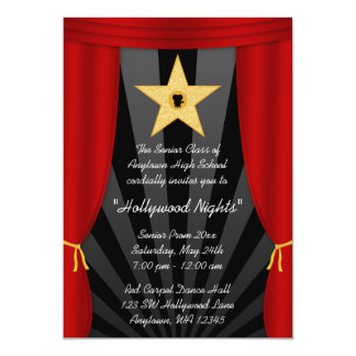 Do baile de formatura vermelho da cortina da convite 12.7 x 17.78cm