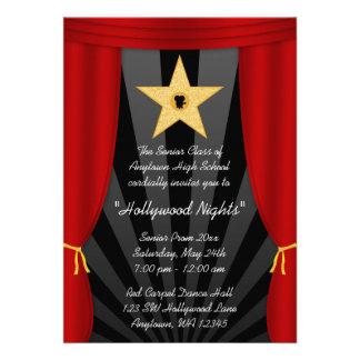 Do baile de formatura vermelho da cortina da estre convite personalizado