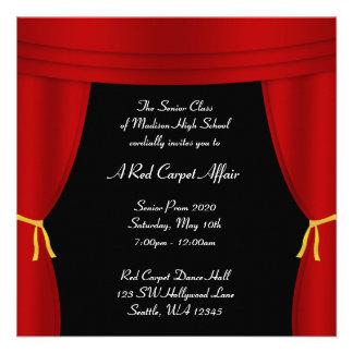 Do baile de formatura vermelho da cortina de convite personalizado