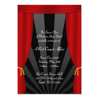Do baile de formatura vermelho da cortina de convite 12.7 x 17.78cm