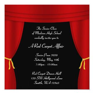 Do baile de formatura vermelho da cortina de convite quadrado 13.35 x 13.35cm