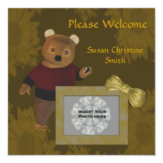 Do cartão com fotos novo do bebê do anúncio do convite quadrado 13.35 x 13.35cm