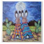 "Do ""coelhos"" 6"" Snuggle azulejo/trivet; coelhos ro"