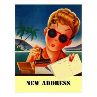 Do contato retro do viagem do cartão mudança nova  cartões postais