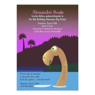 Do convite de aniversário profundo do dinossauro