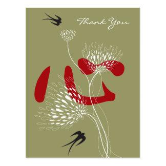 Do coração floral das flores das andorinhas cartão postal